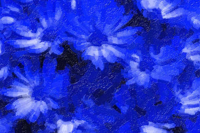 Flowers In Blue Poster by Tilly Williams