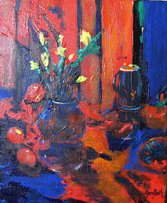 Flowers In Blue Vase Poster by Gary Smith