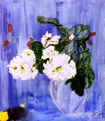 Flowers In Blue Vase Poster by J j Jin