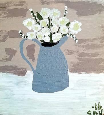Flowers In Hammered Pewter Vase Poster by Scott D Van Osdol