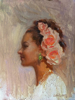 Pretty Flowers - Impressionistic Portrait Of Young Woman Poster by Karen Whitworth