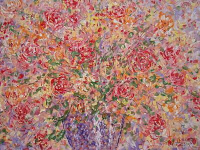 Flowers In Purple Vase. Poster