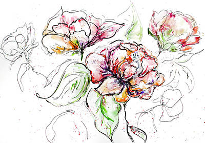 Flowers Inked Poster
