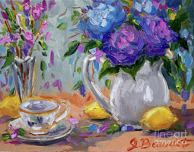 Poster featuring the painting Flowers Lemons by Jennifer Beaudet