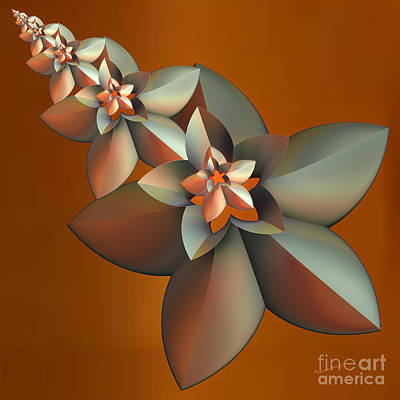 Flowers On Bronze Poster by Deborah Benoit