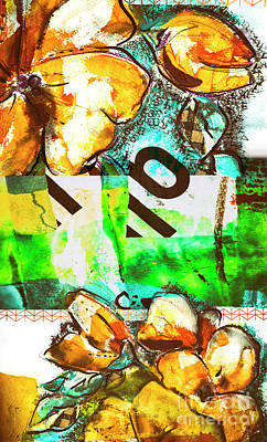 Poster featuring the mixed media Flowers On Paper,  Collage And Acrylic by Ariadna De Raadt