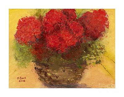 Poster featuring the mixed media Flowers Red by Marlene Book