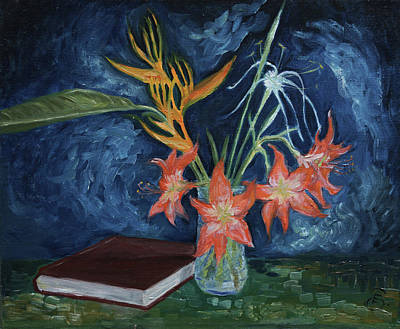 Flowers With Book Poster