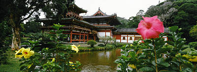 Flowers With Buddhist Temple Poster by Panoramic Images