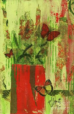 Poster featuring the mixed media Flowers,butteriflies, And Vase by P J Lewis