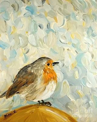 Poster featuring the painting Fluffy Bird In Snow by Maria Langgle