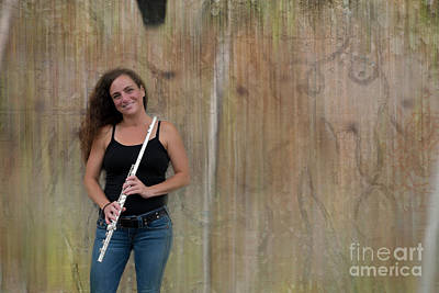 Flute Player At The Wall Poster by Dan Friend
