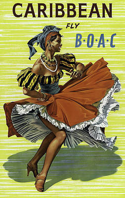Fly B O A C To Caribbean Poster by Daniel Hagerman