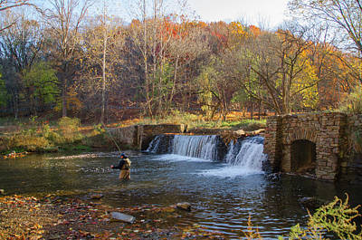 Fly Fishing At Valley Forge In Autumn Poster
