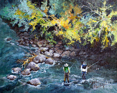 Poster featuring the painting Fly Fishing by Linda Shackelford