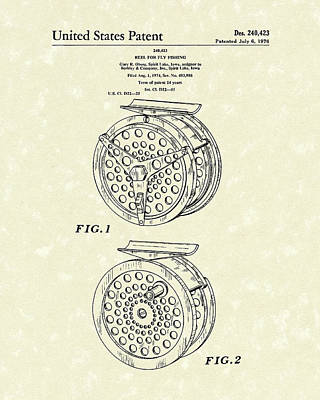 Fly Fishing Reel 1976 Patent Art Poster by Prior Art Design