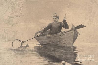 Fly Fishing, Saranac Lake, 1889 Poster