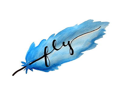Fly Watercolor Feather Horizontal Poster