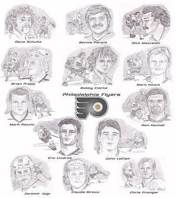 Poster featuring the drawing Flyer Greats by Chris  DelVecchio