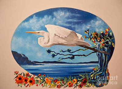 Flying Egret Poster
