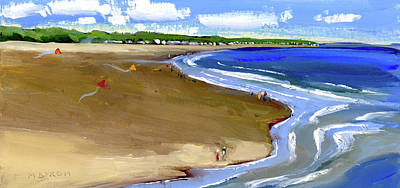 Flying Kites At The Beach Poster by Mary Byrom