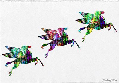 Flying Pegasus Rainbow Poster by Robert R Splashy Art Abstract Paintings