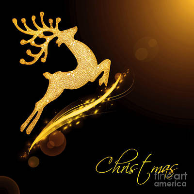 Flying Santa's Reindeer Poster by Anna Om