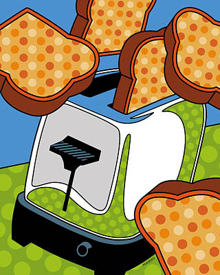 Flying Toast Poster by Ron Magnes