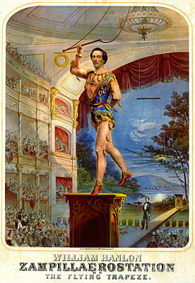 Poster featuring the photograph Flying Trapeze 1850 by Padre Art