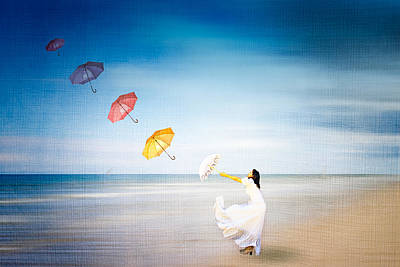 Flying Umbrellas Poster by Louloua Asgaraly