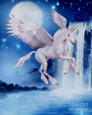 Flying Unicorn Poster by Smilin Eyes  Treasures