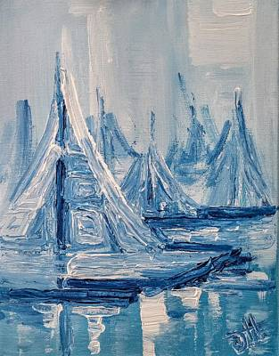 Poster featuring the painting Fog And Sails by Jennifer Hotai