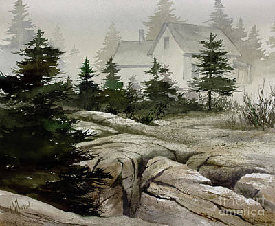 Poster featuring the painting Fog At The Coast by James Williamson