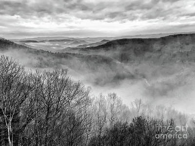 Poster featuring the photograph Fog In The Mountains - Pipestem State Park by Kerri Farley
