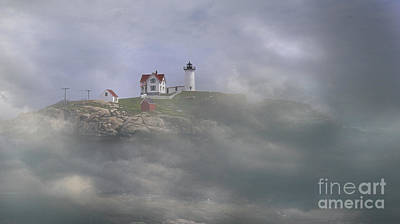 Fog On The Nubble Poster by Skip Willits