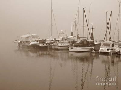 Fog On The Rhine  Sepia Poster by Sarah Loft