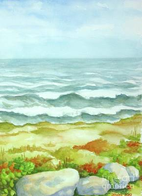 Poster featuring the painting Fog Over Cocoa Beach by Inese Poga