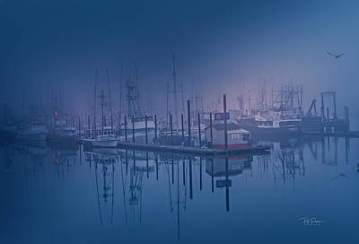 Foggy Bay Front Poster