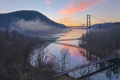 Foggy Dawn At Three Bridges Poster by Angelo Marcialis