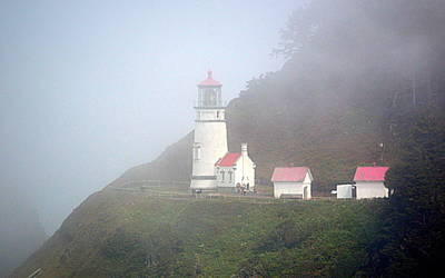 Poster featuring the photograph Foggy Day At The Heceta Head Lighthouse by AJ Schibig