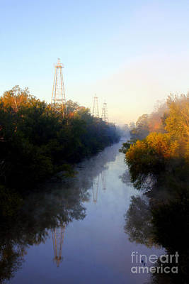Foggy Fall Morning On The Sabine River Poster by Kathy  White