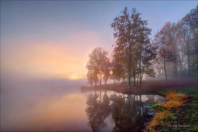 Foggy Fall Sunrise Poster