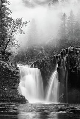 Foggy Falls Monochrome Poster