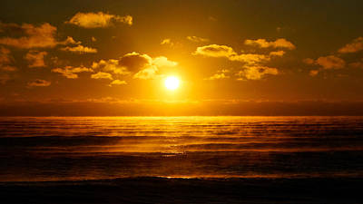 Foggy Gold Sunrise Poster