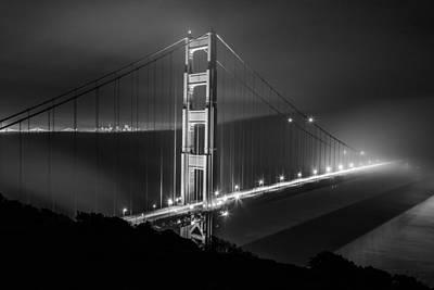 Foggy Golden Gate Bridge Black And White   Poster by John McGraw