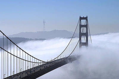 Foggy Golden Gate Bridge Poster by Chuck Kuhn
