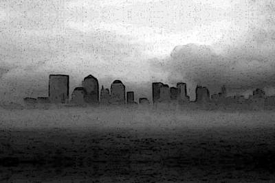 Foggy Manhatten Black And White Poster