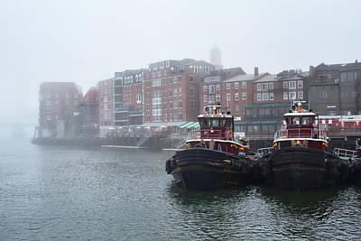Foggy Moran Tugboats Poster