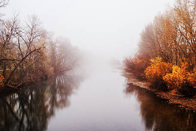 Foggy Morning Along Boise River In Boise Idaho Usa Poster