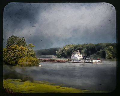 Foggy Morning At The Barge Harbor Poster